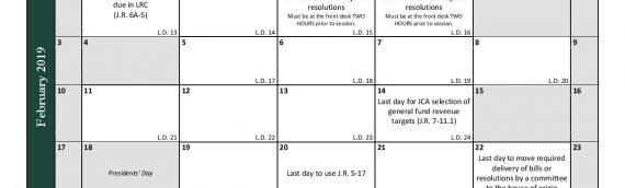 2019 SD Legislative Calendar